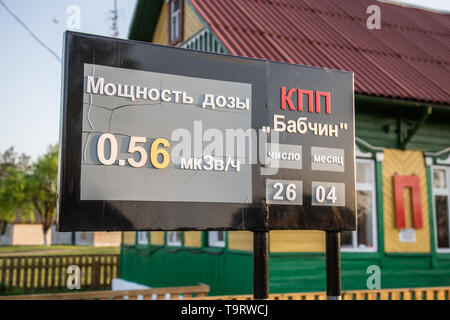 Chojniki, Belarus, - April 26, 2019: Sign with actual radio activity level at the entrance of the exclusion zone of Chernobyl in Belarus. - Stock Photo