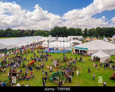 Aerial view of RHS Tatton Park Gardening Show held annually in Cheshire, UK. - Stock Photo