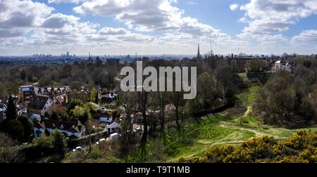 Aerial view of LONDON, England from Hampstead Heath on a Spring day - Stock Photo