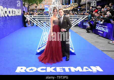 Taron Egerton and Emily Thomas attending the Rocketman UK Premiere, at the Odeon Luxe, Leicester Square, London.