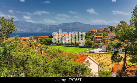 Postira on Brac island skyline view, Dalmatia, Croatia. Postira on Brac island skyline view, Dalmatia, Croatia. Gorgeous view on village Postira on Br - Stock Photo