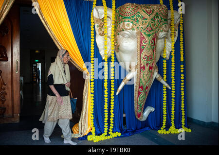 15.03.2019, Singapore, Republic of Singapore, Asia - The head of a holy elephant is used as decoration for an upcoming Indian wedding ceremony. - Stock Photo