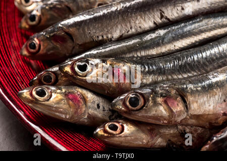 fish anchovies on wooden cutting board and plate - Stock Photo