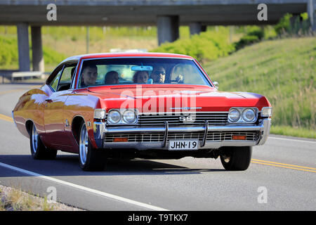 Salo, Finland. May 18, 2019. Red Chevrolet SS Super Sport on the road on Salon Maisema Cruising 2019. - Stock Photo