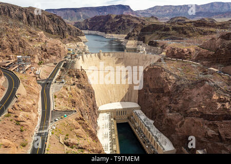 Hoover Dam in the Black Canyon of the Colorado River, on the border between the U.S. states of Nevada and Arizona