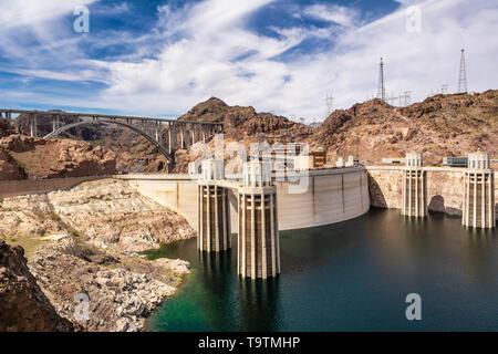 Intake towers of the Hoover Dam between Arizona and Nevada, USA - Stock Photo