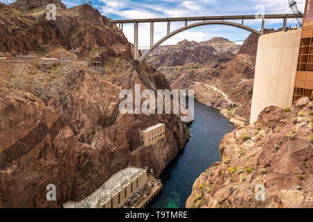 Hoover Dam located on the Nevada and Arizona border, very popular tourist attraction. USA