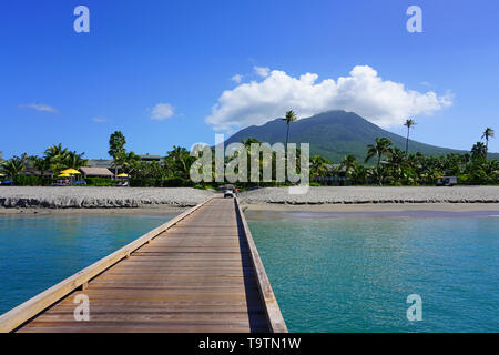 CHARLESTOWN, NEVIS -21 NOV 2018- View of the Four Seasons Nevis, a luxury hotel overlooking the Caribbean Sea located on Pinney's Beach at the foot of - Stock Photo