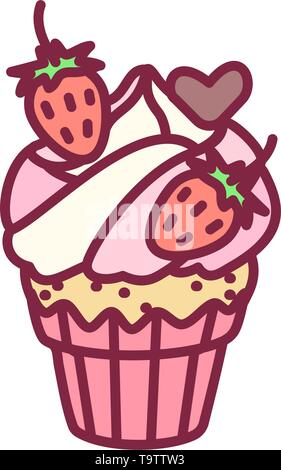 vector cute cupcake sweets, flat clip art - Stock Photo