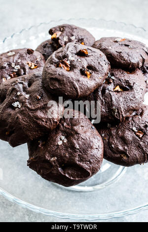 Salted Brownie Cookies with Roasted Walnut Pieces. Organic Dessert Snacks. - Stock Photo