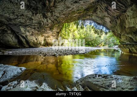 Moria Gate Arch, natural limestone tunnel, rock arch over Oparara River, Oparara Basin, Kahurangi National Park, Karamea, West Coast region, South - Stock Photo
