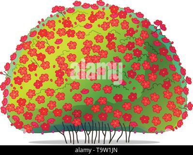 vector cartoon plants nature clip art. blossom bush quince - Stock Photo