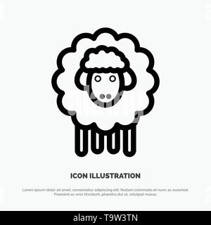 Easter, Lamb, Sheep, Spring Line Icon Vector - Stock Photo