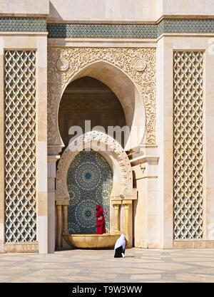 10 March 2019, Morocco, Casablanca:The Hassan II Mosque or Grande Mosque Hassan II is a mosque in Casablanca, Morocco. It is the largest mosque in Afr - Stock Photo