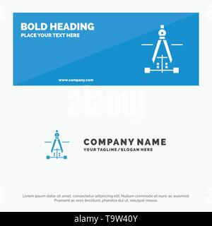 Compass, Drawing, Education, Engineering SOlid Icon Website Banner and Business Logo Template - Stock Photo