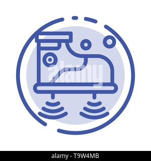 Shoes, Wifi, Service, Technology Blue Dotted Line Line Icon - Stock Photo