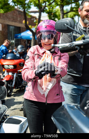 May 5, 2019, Glendale, California, Wendy Dio gets ready to ride at the 5th annual Ride For Ronnie charity motorcycle ride & concert - Stock Photo