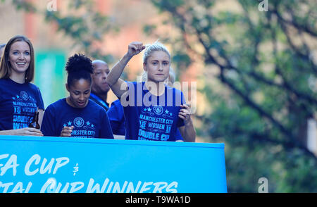 Manchester England. 20th May, 2019. The Manchester City team performs a street parade celebration in Manchester to thank fans for their winning 2019 season; Steph Houghton the Womens captain cheers on the large crowd lining the route of the parade Credit: Action Plus Sports/Alamy Live News - Stock Photo