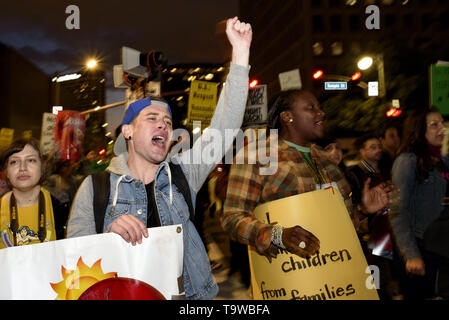 Los Angeles, CA, USA. 8th Mar, 2019. An activist seen chanting slogans while holding a placard during the International Women's Strike in Los Angeles.The rally coincided with International Women's Day which was first recognized by the United Nations in 1975. Credit: Ronen Tivony/SOPA Images/ZUMA Wire/Alamy Live News - Stock Photo