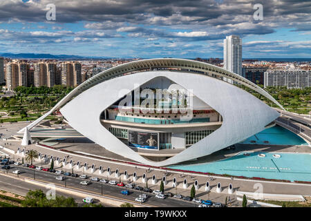 Palau de les arts Reina Sofia opera house, City of Arts and Sciences or Ciudad de las Artes y las Ciencias, Valencia, Comunidad Valenciana, Spain - Stock Photo