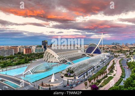 Sunset view over City of Arts and Sciences or Ciudad de las Artes y las Ciencias, Valencia, Comunidad Valenciana, Spain - Stock Photo