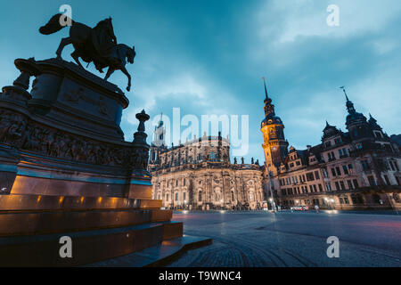 Classic twilight view of historic Dresden city center illuminated in beautiful evening twilight with dramatic sky during blue hour at dusk, Saxony, Ge - Stock Photo
