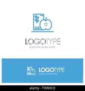 Breakfast, Diet, Food, Fruits, Healthy Blue outLine Logo with place for tagline - Stock Photo
