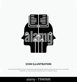 Mind, Reading, Programming, Man solid Glyph Icon vector - Stock Photo