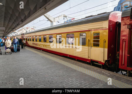 Saint Petersburg, Russia - May 2019: Grand Express night train at the platform in Saint Petersburg Moscau train station. - Stock Photo