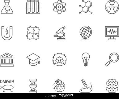 Set of Science Line Icons. School Globe, Professor, Evolution, Dna and more. - Stock Photo