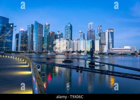 Singapore - January 2019: Singapore skyline Marina Bay Sans area. Singapore city center CBD waterfront is a popular area for visitors and tourist.