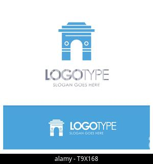Culture, Global, Hinduism, India, Indian, Srilanka, Temple Blue Solid Logo with place for tagline - Stock Photo