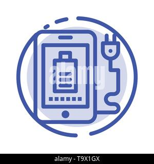 Mobile, Charge, Full, Plug Blue Dotted Line Line Icon - Stock Photo