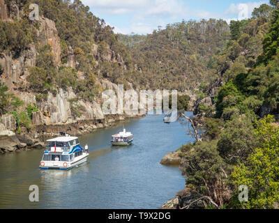 TASMANIA, AUSTRALIA - MARCH 12, 2019: Two pleasure cruise boats in Cataract Gorge, in the South Esk River in Launceston, Tasmania, Australia. - Stock Photo
