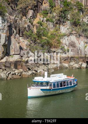 TASMANIA, AUSTRALIA - MARCH 12, 2019: The pleasure cruise boat Lady Launceston in Cataract Gorge, in the South Esk River in Launceston, Tasmania, Aust - Stock Photo