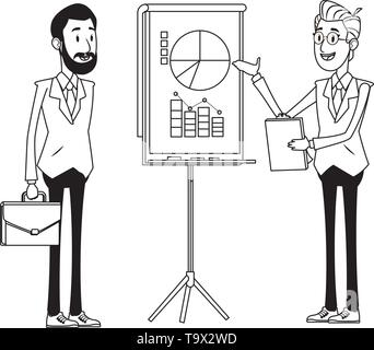 businessmen with briefcase black and white - Stock Photo