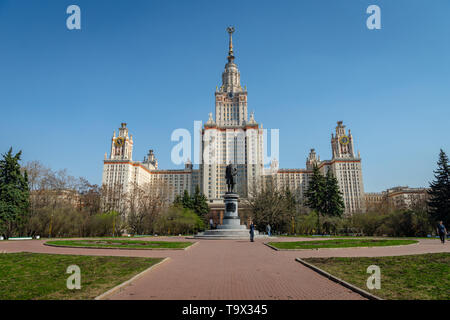 Moscow, Russia - April 2019: Main building of Moscow State University, Moscow, Russia. It is the highest-ranking Russian educational institution. - Stock Photo