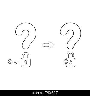 Vector icon concept of question marks with closed and opened padlocks with key. Black outlines. - Stock Photo