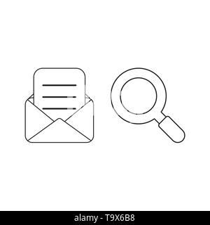 Vector icon concept of mail envelope and written paper with magnifier. Black outlines. - Stock Photo