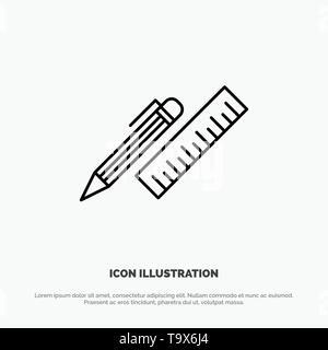 Pen, Desk, Organizer, Pencil, Ruler, Supplies Line Icon Vector - Stock Photo