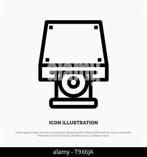 Dvd, CDROM, Data Storage, Disk, Rom Line Icon Vector - Stock Photo
