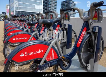 Santander Bikes outside the London Aquatics Centre at Queen Elizabeth Olympic Park, London E20, United Kingdom - Stock Photo