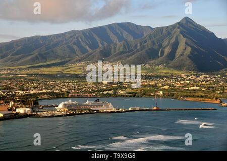 Aerial view of Kahului,  Maui, Hawaii, USA - Stock Photo