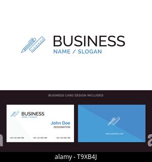 Pen, Desk, Organizer, Pencil, Ruler, Supplies Blue Business logo and Business Card Template. Front and Back Design - Stock Photo