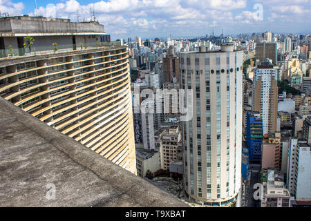 Sao Paulo, SP, Brazil, April 17, 2013. Panoramic view of the city from the terrace of the Copan Building, in the center of Sao Paulo, SP. - Stock Photo