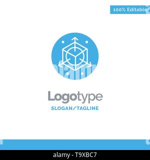 Scale, Modification, Design, 3d Blue Business Logo Template - Stock Photo