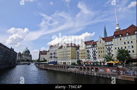 View of Berlin from Spree River, with the Berlin Cathedral and Fernsehturm (TV Tower) on the background Germany - Stock Photo