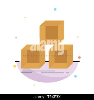 Arrange, design, stack, 3d, box Flat Color Icon Vector - Stock Photo