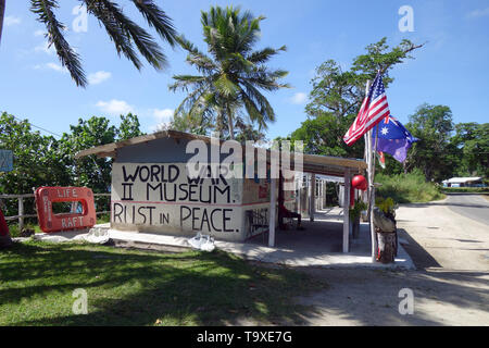 World War II Museum with slogan 'Rust in Peace', Havannah Bay, Efate, Vanuatu. No MR or PR - Stock Photo