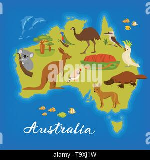 Australia map with cute animals. Vector poster with Australia map. Australian animals. - Stock Photo